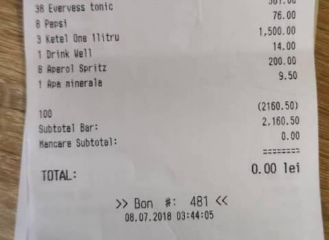 7-07-2018 Il conto della serata per il compleanno del dottor Mario in Romania